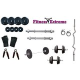 16 Kg Fitness Extreme Rubber Plates + 3 Ft Curl Bar + Dumbells Rods Home Gym Set
