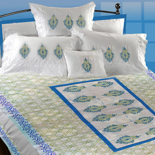 Aerka Block Printed Cotton Bed Sheet White