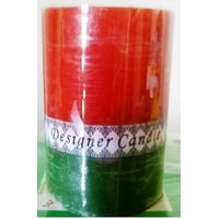 Designer Pillar Candle In Red & Green