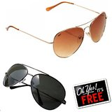 Buy A Reebok Black Aviator Sunglasses & Get A Reebok Brown Aviator Sunglasses Free (RBK AV Lite SG + RBK Br SG)
