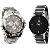 iik silver and Rosra silver New Casual Analog Watch For men Combo of 2 by Star