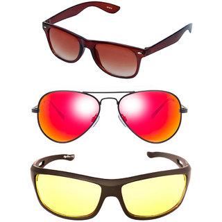 Magjons Brown Wayfarer Mirror Aviator Sunglasses Combo Yellow Driving Goggale Set of 3 With box MJK023