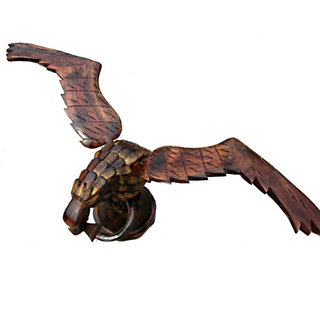 Symbolic Carved Wooden Eagle With Snake In Its Grip