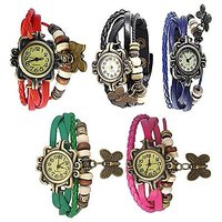 Combo of 5 Different Color Deal2dil Butterfly Vintage Watches For Women, Girl E