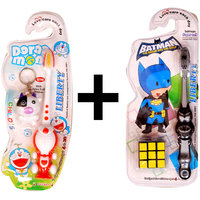 Combo Of 2  Kids Toothbrushes With Free Doremon Key Ring And Puzzle