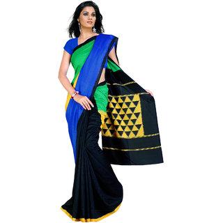 Fabdeal Party Wear Blue  Black Colored Bhagalpuri Silk Saree