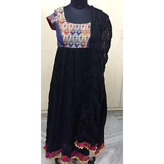 Neetas Designer Wear Black Ladies Cotton Anarkali With Dupatta