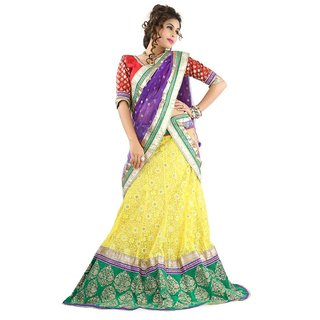 Triveni Splendid Intricate Embroidered Wedding Wear Net Lehenga Choli 10004