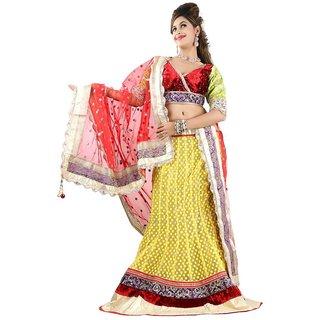 Triveni Marvelous Velvet Bordered Wedding Wear Net Lehenga Choli 10007