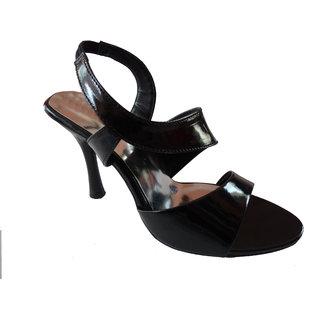 High Look Black Strappy High Heel Sandal