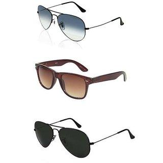 Set Of 3 Sunglasses Blue Aviators, Brown Wayfarers, Black Aviators