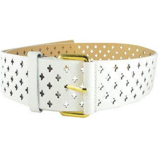 """Antiformal Fashion Women """"Engraved Staric Designs """" Waist Belt In White Colour"""