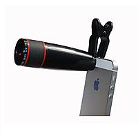 Universal Clip 12X Telephoto Lens Zoom Optical Telescope lens Camera for mobile phone Black