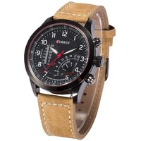 Curren Tan Leather Analog Watch la
