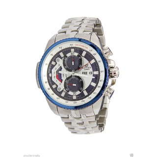 CASIO EDIFICE EF-558D-2AV WHITE DIAL/BLUE RING SPORTS CHRONOGRAPH MENS WATCH