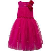 Hot Pink Pearls Embellished Girls Princess Dress