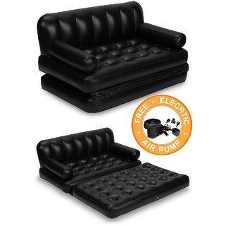 5 in 1 Inflatable Air Sofa Bed (Color - Black)