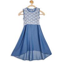 612 LEAGUE Girls BLUE LACE DENIM ASYMMETRIC Dresses