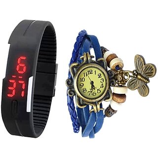 Slim Twin (Butterfly+led band) Analog-Digital Watch - For Women men