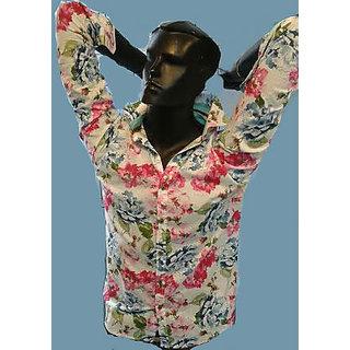 Flower Print Men's Cotton Shirt Red