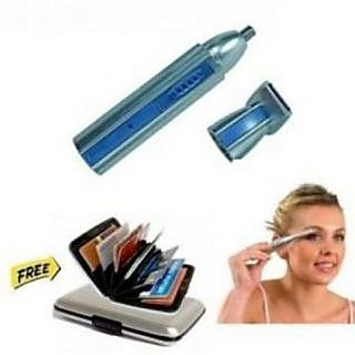 Maxel 2 In 1 Multipurpose Ear nose And Hair Trimmer With Eyebrow Trimmer And silver Aluma Wallet
