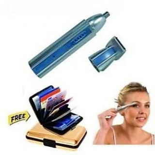 Maxel 2 In 1 Multipurpose Ear nose And Hair Trimmer With Eyebrow Trimmer And goldan Aluma Wallet