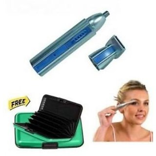 Maxel 2 In 1 Multipurpose Ear nose And Hair Trimmer With Eyebrow Trimmer And green Aluma Wallet