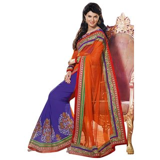 Triveni Delightful Blue Embroidered Net & Georgette Saree available at ShopClues for Rs.6237