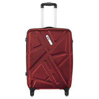 Safari Medium (Between 60-69 cms) Red Polycarbonate 4 Wheels Trolley