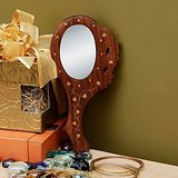 Wood Carving Hand Mirror With Brass Inlay Work