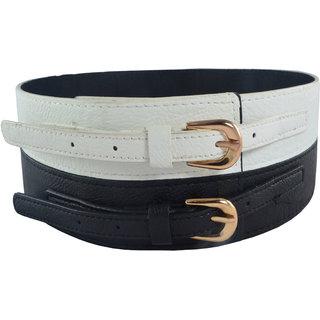 Antiformal Fashion Women Waist Belt In White And Black Colour