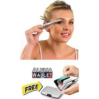 Eyebrow Trimmer And Shaper Free Aluma Wallate Silver