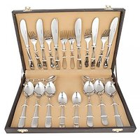 Kishco Stainless Steel Pristine 24 Pcs Cutlery Set In Leather Box