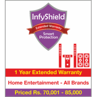 InfyShield 2 Yrs Extended Warranty on Home Entertainment - Speakers, Soundbars and Home Theater Systems  Priced Rs.70001 - 85000