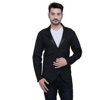 Abc Garments Black Plain Casual Blazer