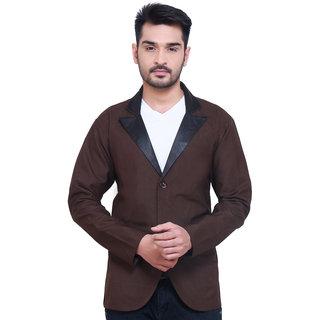 Abc Garments Brown Plain Casual Blazer
