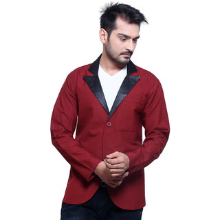 Abc Garments Maroon Plain Casual Blazer