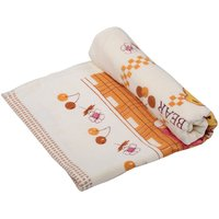 Roger Twin Bear Cherry Blossom Luxury Cotton Baby Bath Towel (Cream) - Set Of 1