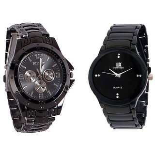 i DIVAS  Rosra Black And IIk Colloction Blacck Men Watches combo of 2 By HansHouse