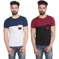 Stylogue Men's Multicolor Round Neck T-shirt (Combo of 2)