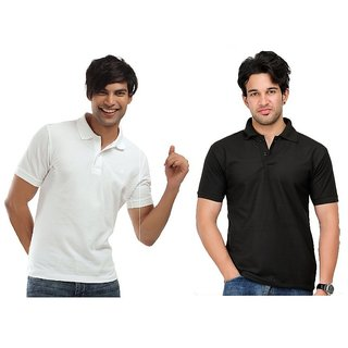 Lime In Fashion Cotton Half Sleeves Men's Two Polo T-Shirts Combo