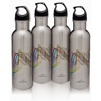 Classic Bottles - Set Of 4; Stainless Steel; Amazing Design; Ideal For Refrigerators; Safe And Healthy By Hot Muggs