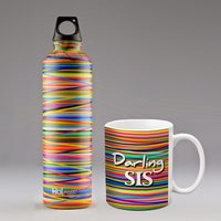 Colors Combo Set; 350ml Ceramic Mug And 500ml Stainless Steel Bottle; Hot Muggs