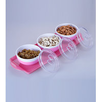 Stylish Serving Tray With Three Air Tight & Leak Proof Container