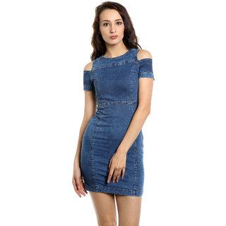 TARAMA Bodycon Fit Cotton Stretch Denim fabric Bodycon Dress for women