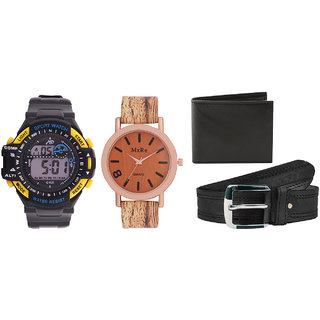 52%off Combo of Sports Watch For Men Wooden Finish Women Watch Black Belt  And Black Wallet e04bf488752fc
