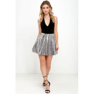 Westrobe Silver Plain Mini Skirts Skirt for Women