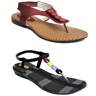 Indirang Ethnic Maroon And Black Sandals Combo
