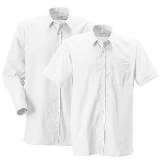 1 Full Sleeves + 1 Half Sleeves White PC Cotton Shirt