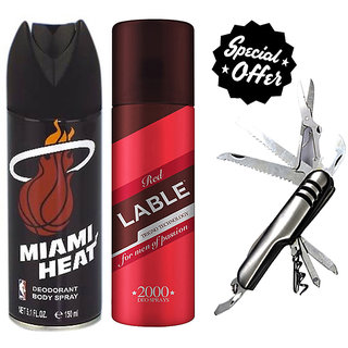 Combo of NBA Miami Heat, Red Lable Deodorant And Swiss Knife